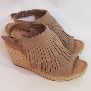Minnetonka ashley fringe leather wedge